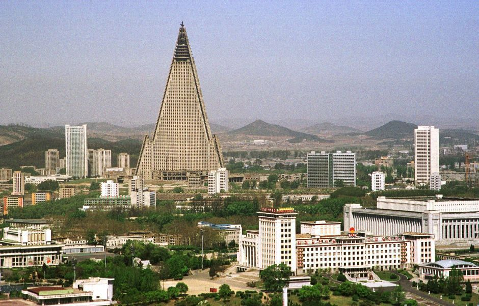 File photo shows the Ryugyong Hotel towering over Pyongyang's skyline