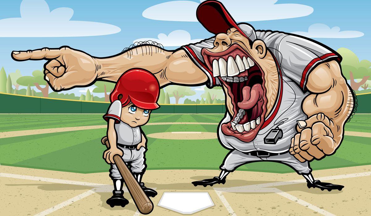 Risultati immagini per baseball kids coach scream